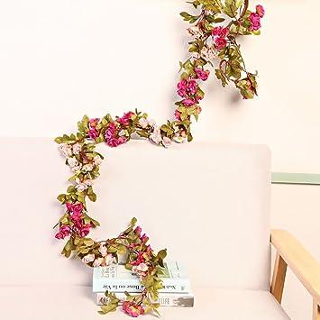 Li Hua Cat Kunstliche Blumenranke Mit 60 Rosenknospen Girlande Mit