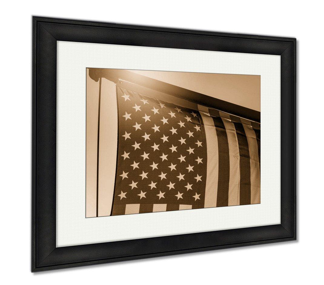 Ashley Framed Prints American Flag American Flag During Sunset USA Flag In The Evening, Office/Home/Kitchen Decor, Sepia, 30x35 (frame size), Black Frame, AG6564676