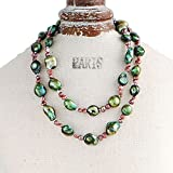 "9-10mm Baroque & 4-5mm Nugget Cultured Freshwater Pearl Necklace 25"" Endless Strand ABB Series Green & Wine"