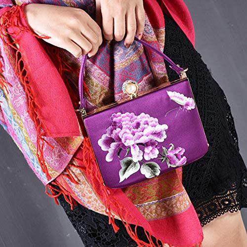 (ZTDXCL Women's Clutch Bag Vintage Embroidery Dinner Package Party Banquet Bride Dress Dance Party Evening Bag/Peony Purple)