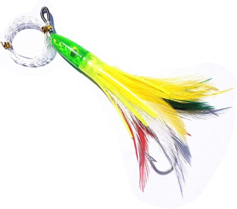 Acrylic Saltwater Lures Bionic Feather Trolling Lures Pre-Rigged 6# Hook 7in 65g