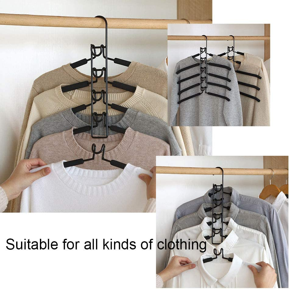 Suppyfly 5 In 1 Multi-Layer Clothes Hangers Space-Saving Multiple Non-Slip Hanger for Wardrobe