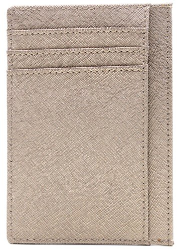 Small Genuine Leather RFID Blocking Minimalist Wallet Credit ID Card Holder Travel Slim Pocket Wallet Money Clip Men Women, Gold by Linscra (Image #3)