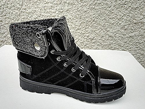 Women's Sneaker Boots Faux Fur Ankle Boots Girl Boots Fashion Warm Blanket Black K-37 cqjZTiY5o9