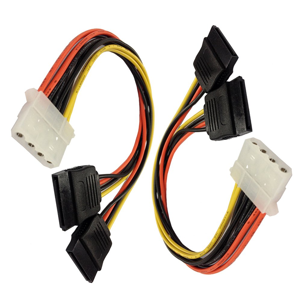2Pack 4 Pin IDE Molex to Dual SATA Power Y-Cable Adapter 8.67 Inches Ronghua