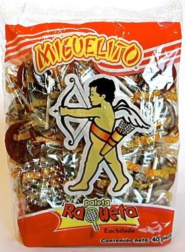 Miguelito Raqueta Paleta Enchilada Mexican Candy Hot Chili Lollipops 40 Pcs