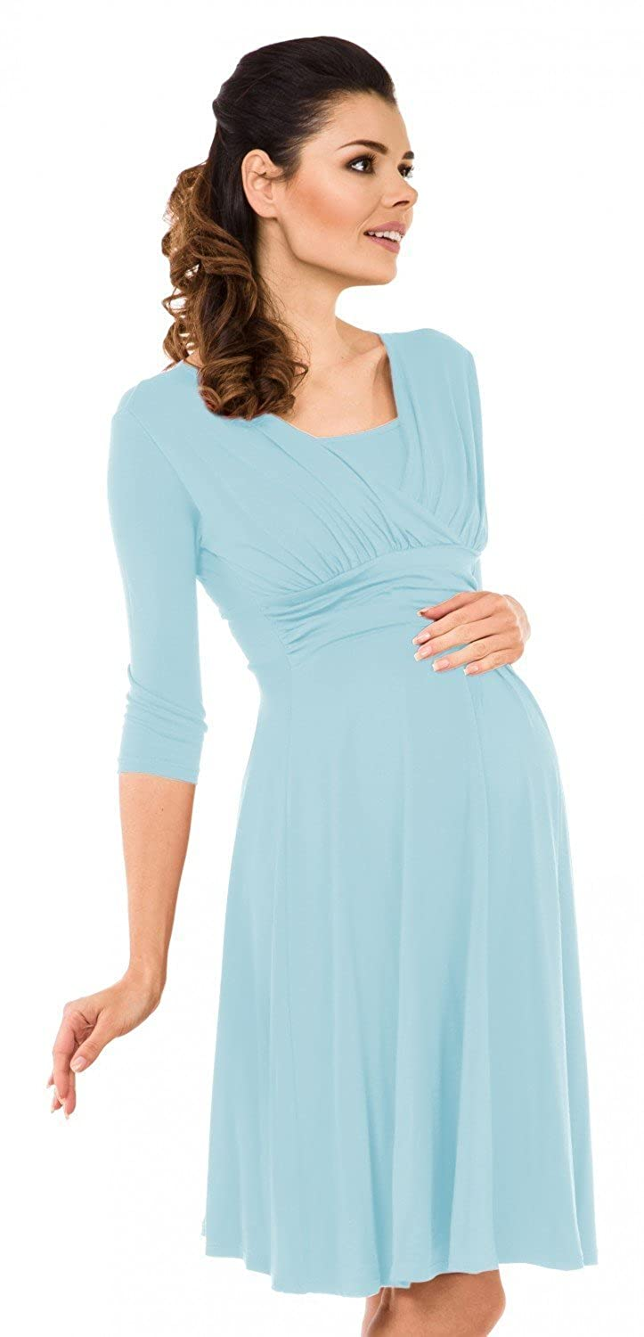 Zeta Ville - Women's Maternity Nursing A-line Dress - 3/4 Sleeves - 526c maternity_dress_526