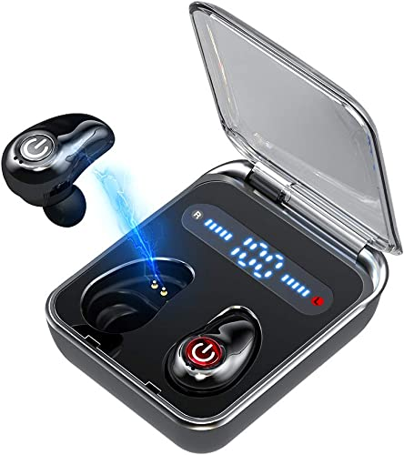 Wireless Earbuds Bluetooth 5.0 Headphones Meetone 36H Playtime Stereo Hi-Fi Sound Built-in Mic Cordless Earphones for Android iPhone in-Ear Headset with LED Battery Display Charging Case Black