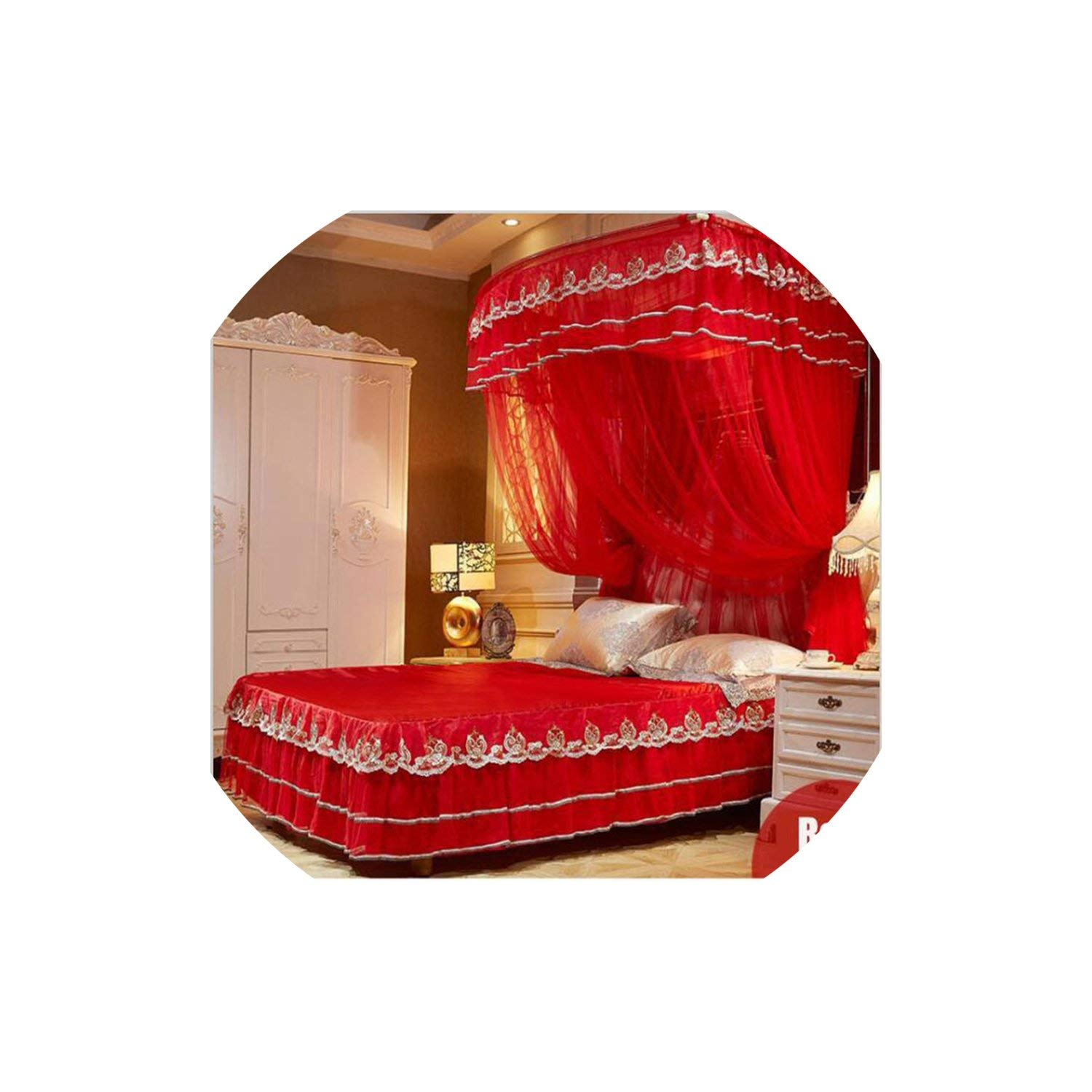 Fishing Rod Retractable Mosquito Net Multi Size Wedding Lace Mosquito Net 50D Encryption Soft Yarn Nice Bed Decor,Red,1.5Mwx2Mlx2.1Mh by special shine-shop mosquito net (Image #1)