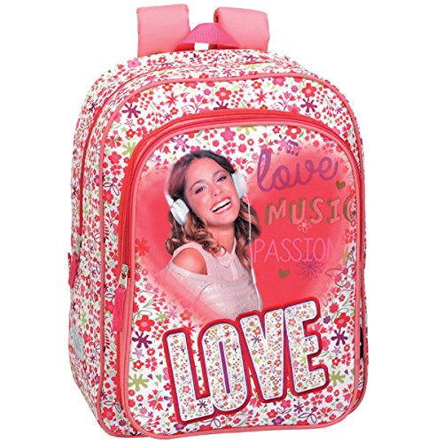 Violetta - Mochila junior, color blanco y rosa (Montichelvo 30054)