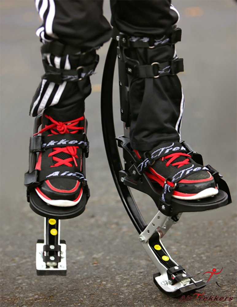 KIDS JUMPING STILTS by AIR TREKKERS Spring Loaded JUMP SHOES are Cool Gifts for Kids Ages 8-12 Develop Valuable Athletic Motor Skills! BOUNCE SHOES FOR KIDS with PROTECTION PADS and Cloth KNEE SUPPORT by Air-Trekkers (Image #4)