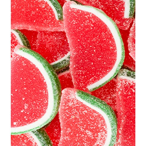 FirstChoiceCandy Watermelon Fruit Jelly Slices Red White Green Gummy Candy 1 LB - 16 oz In a Resealable Gift Bag