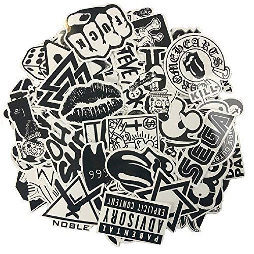 XONOR 120PCS Black White Vinyl Sticker Graffiti Decal Perfect to Laptops, Skateboards, Luggage, Cars, Bumpers, Bikes, Motorcycle, Helmet, Window, Guitar, Snowboard, Cellphone ()