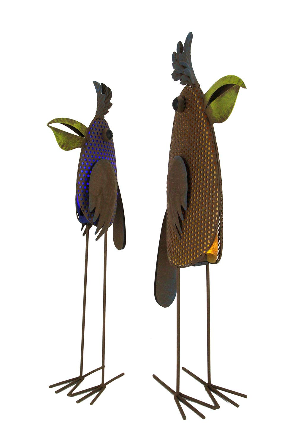 Gerson Metal Art Whimsy Standing Parrot LED Lighted Solar Statue Set of 2