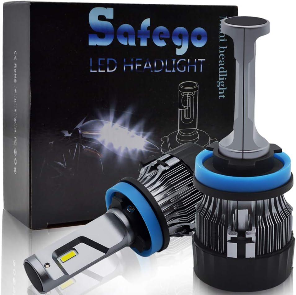 Safego Bombilla H11 LED Coche, 2x 72W 8000LM H8 H9 LED Faros Delanteros Bombillas, Faros Reemplazo de Halógena y Kit Xenón H11, Lámpara Luz 6500K Blanca 12V-24V, Garantía de 1 años