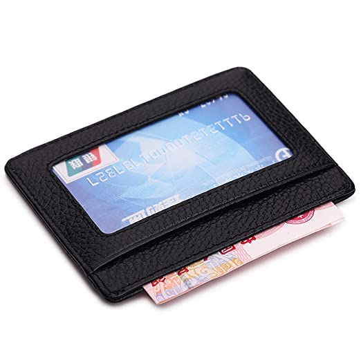 the latest e970b f14a2 MEKU Slim Leather Wallet Credit Card Case Sleeve Card Holder With ID Window