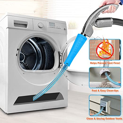 Vacuum Lint Tool and Duct Brush Dryer Lint Cleaning System Dryer Duct Cleaning Kit with 28 Inch Brush