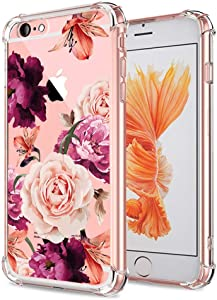 iPhone 6 6S Case Women Flowers Floral Pattern Bumper Shockproof Protective Back Cover Flexible Slim Fit Soft TPU Phone Cases Clear with Cute Purple Rose Design for Apple iPhone 6 6S 4.7 Inch Girls