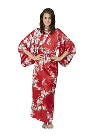 f4328e4808 Beautiful Robes Women s Cherry Blossom In Spring Silk Kimono Red Long