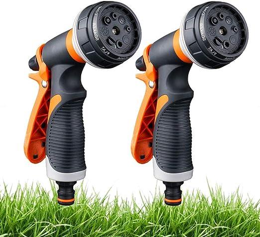 2 Pack Pistola de riego, Pistola de agua de jardín con 8 modos de ajustable pulverización -