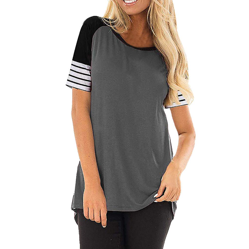 TnaIolral Ladies Blouse Striped Solid Patchwork Short-Sleeve O-Neck Tops Gray