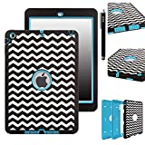 iPad Air Case, E LV iPad Air Case Cover - Shock-Absorption / Impact Resistant Hybrid Dual Layer Armor Defender Full Body Protective Case Cover with 1 Screen Protector, 1 Stylus and 1 E LV Microfiber Digital Cleaner for iPad Air - Zig Zag Blue