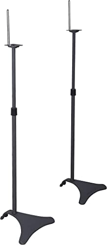 Atlantic Adjustable Height Speaker Stands Black – Set of 2 Holds Satellite Speakers, Adjustable Stand Height from 27 to 48 inch, Heavy Duty Powder Coated Aluminum with Wire Management PN77305018