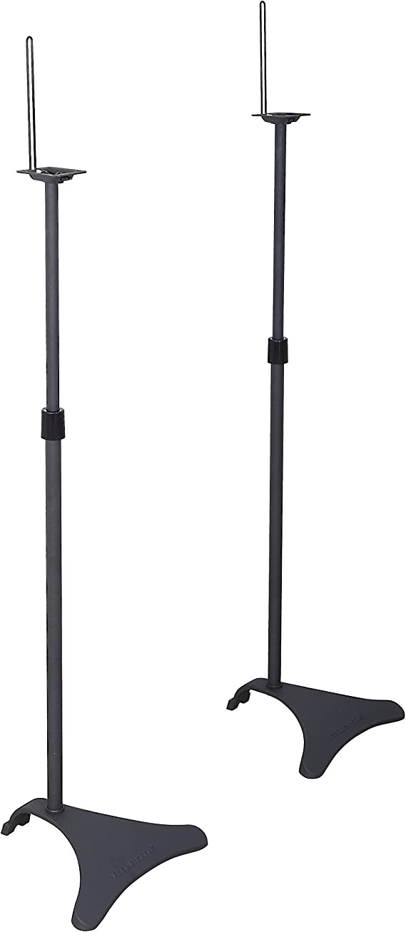 Atlantic Adjustable Height Speaker Stands Black - Set of 2 Holds Satellite Speakers