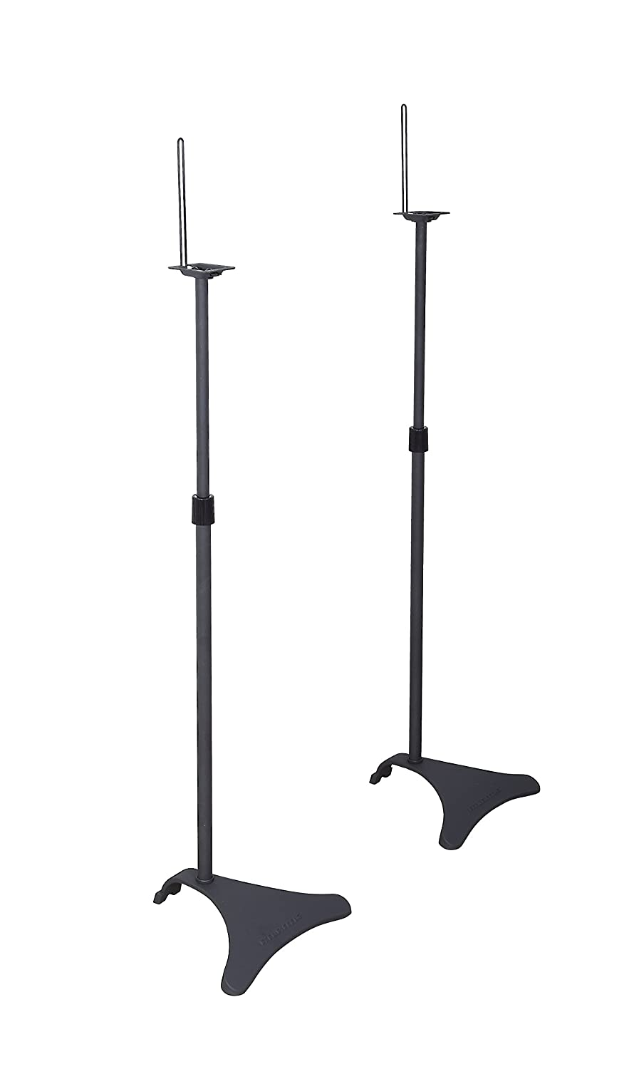 Atlantic Adjustable Height Speaker Stands - Set of 2 Holds Satellite Speakers, Adjustable Stand Height from 27 to 48 inch, Heavy Duty Powder Coated Aluminum with Wire Management PN77305018 in Black