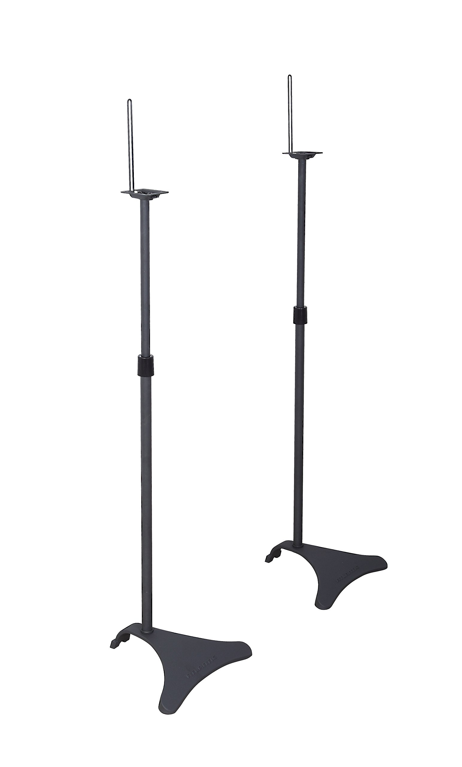 Atlantic Adjustable Height Speaker Stands - Set of 2 Holds Satellite Speakers, Adjustable Stand Height from 27 to 48 inch, Heavy Duty Powder Coated Aluminum with Wire Management PN77305018 in Black by Atlantic