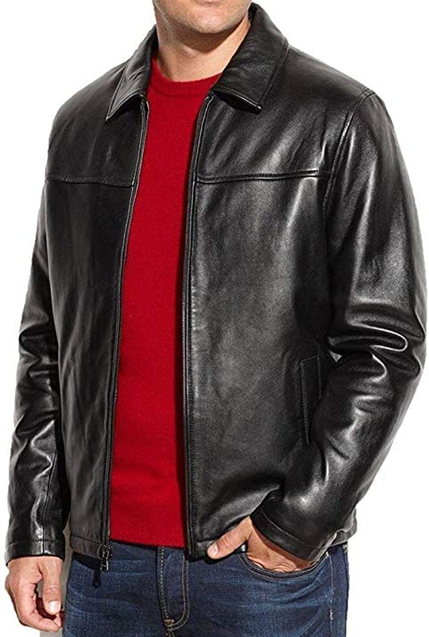 V4M RA Lambskin Leather Mens Lambskin Leather Racer Jacket