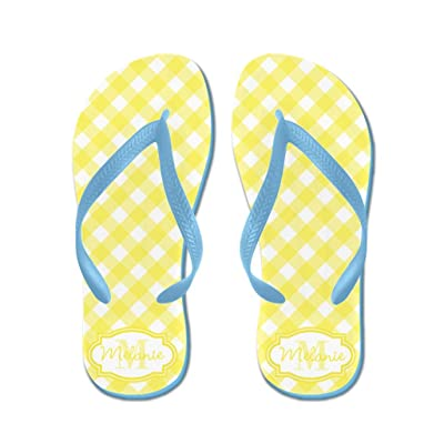 d7665bd9d89e70 Lplpol Personalizable Customized Yellow Gingham Monogram Flip Flops for  Kids and Adult Unisex Beach Sandals Pool Shoes Party Slippers