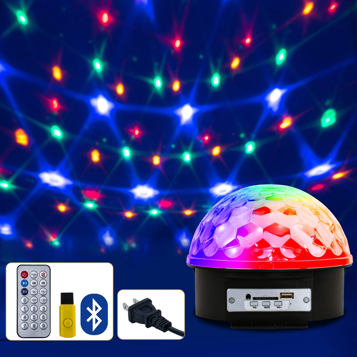 Disco Ball Light with Remote, Disco Light Led Rotating Ball, Party Lights 6 Colors Strobe Light Wireless Phone Connection with Bluetooth Disco Ball Dj Lights for Room