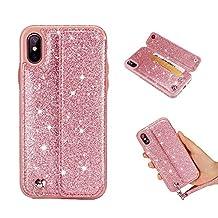Aulzaju - Funda de piel sintética para iPhone con función atril y tira de piel, Rosado, iphone xs max
