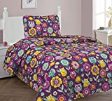 Goldenlinens Twin Size 2 Pieces (1pc Bedspread & 1 pillow Sham) Purple Owl Flower Printed New Designs Kids Bedspread/Coverlet Sets/Quilt Set # Owl Twin Quilt