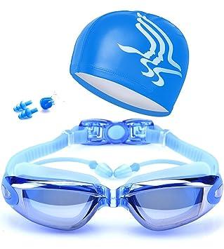 3998d3db092c Gafas de natación Espejo Anti Niebla protección UV Gafas para Nadar  Silicona para Adulto Hombres Mujeres