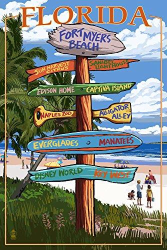 (Fort Myers Beach, Florida - Destinations Sign (9x12 Art Print, Wall Decor Travel)