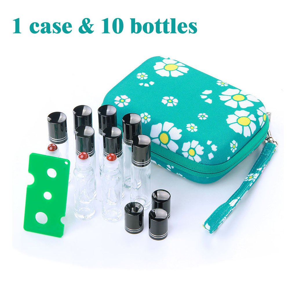 Essential Oil Carrying Case Come with 10 Pack 10ml Clear Glass Roller Bottles & Free Roller Bottle Opener Essential Oil Storage/Organizer Case for Travel and Presentation
