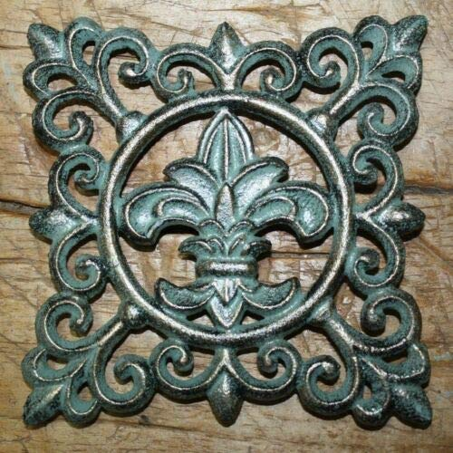 JumpingLight Cast Iron Fleur DE LIS Plaque Finial Garden Sign Home Wall Decor Rustic Trivet Cast Iron Decor for Vintage Industrial Home Accessory Decorative Gift
