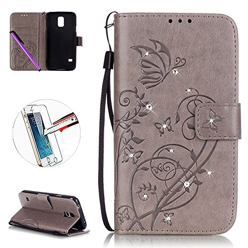 Samsung Galaxy S5 Case, ISADENSER Fashion PU Leather Magnet Wallet Flip Case Cover with Built-in Credit Card for Samsung Galaxy S5 + 1pcs Tempered Glass Screen + 1pcs Stylus Pen (Cover Samsung Magnet)