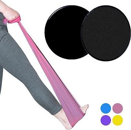 life-mate 2 Core Slide de discos y bandas de resistencia de látex 5 ft. Gimnasio en casa Fitness equipo para fisioterapia, pilates, stretch, Yoga, Entrenamiento de Fuerza Entrenamiento. (Combo Pack), Rosado: Amazon.es: