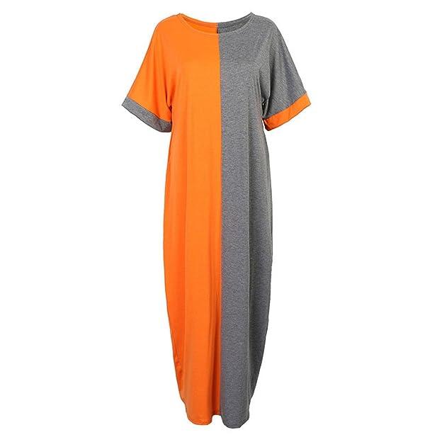 Amazon.com: Eloise Isabel Fashion dress vestidos das mulheres do vintage bloco de cor manga morcego solta praia maxi dress plus size s-xl vestidos: Clothing