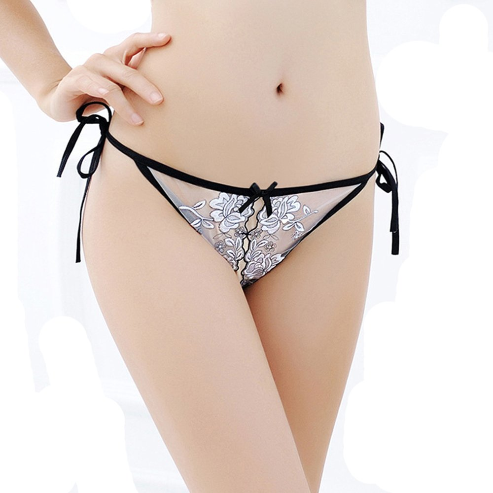 GeeHaoo Lace Sexy Underwear Women\'s Underwear Transparent Wool Open Embroidery Thong T Pants