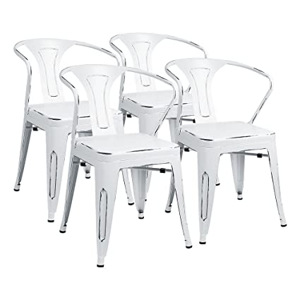 Furmax Metal Chairs With Arms Distressed Style Dream White Indoor/Outdoor  Use Stackable Chic Dining