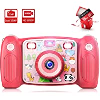 Victure Kids Camera Digital Rechargeable Selfie Action Camera 1080P HD 12MP with 2 Inch LCD Display and Shockproof Handles for Girls Boys Toys Gifts