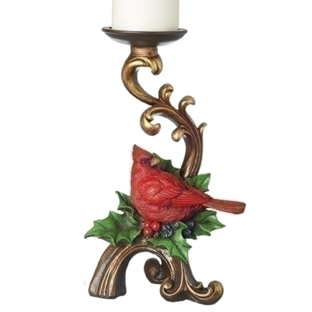 Roman Christmas Holly Cardinal Gold Scroll Candle Holder, 11 Inches Height