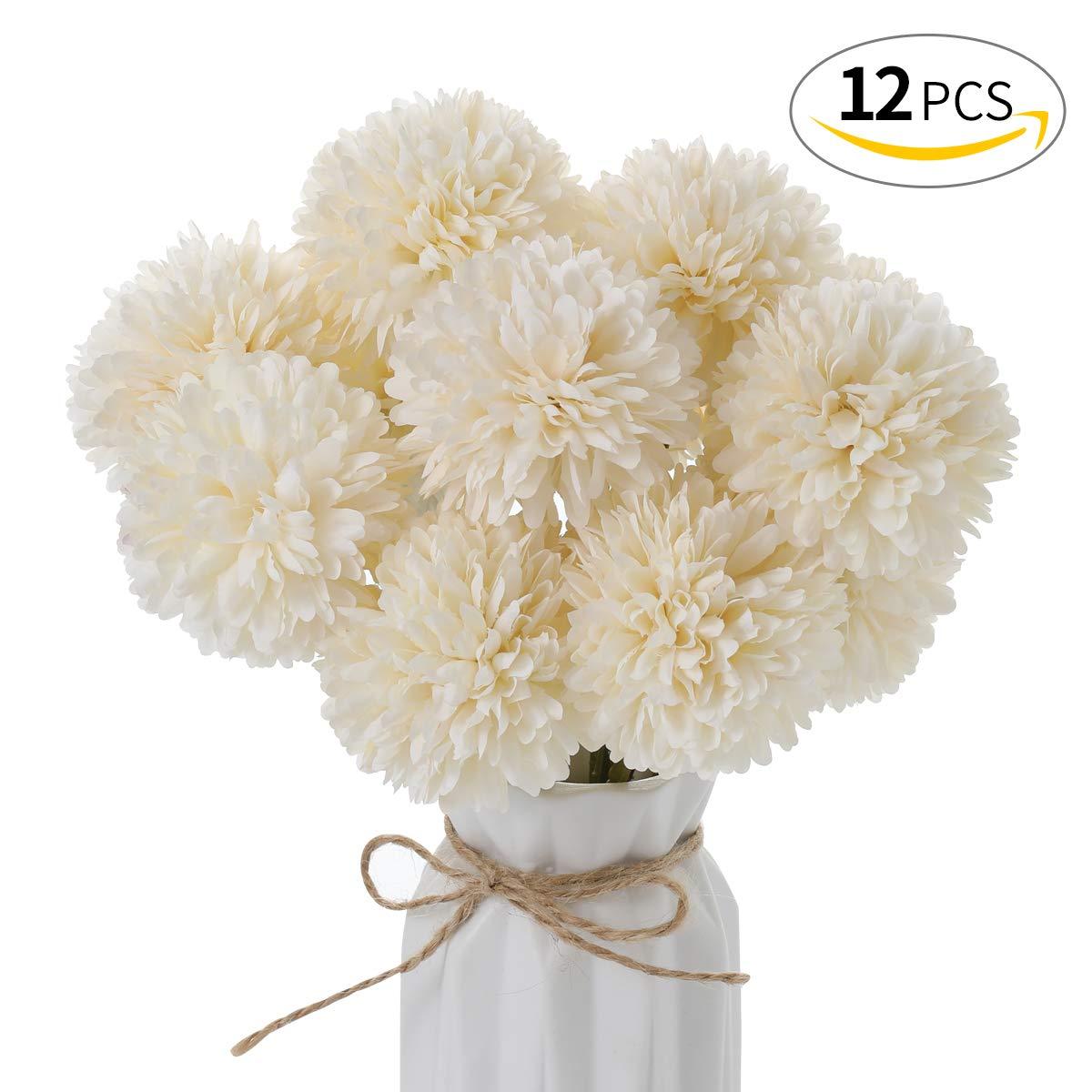 Anndason 造花 シルク製 造花 ウェディングパーティー ホームデコレーション 12個 ASW34 B07QCXLK8C ホワイト