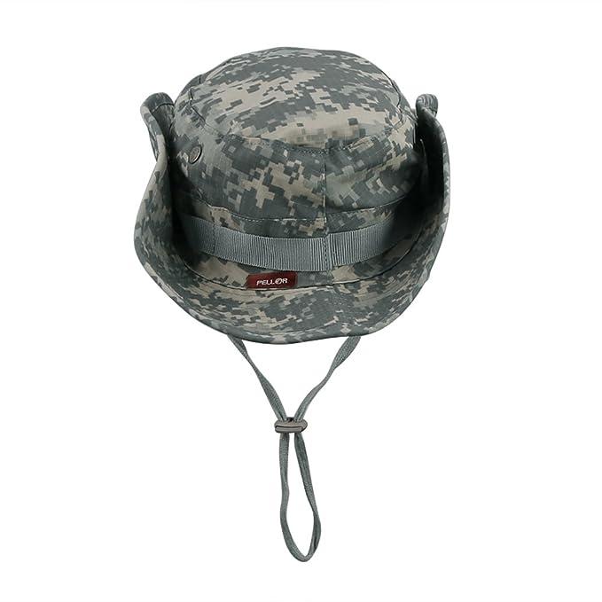 Pellor Boonie Bucket Hat Military Fishing Camping Hunting Wide Brim Bucket  Men Outdoor Sun-Shading Sun Hat Travel Cap Fishing Cap (ACU)   Amazon.com.au  ... 6e49c473685e
