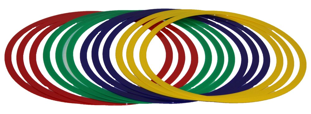 Set di 12 cerchi/anelli da ginnastica , sezione piatta, Ø 45 cm, tre per colore