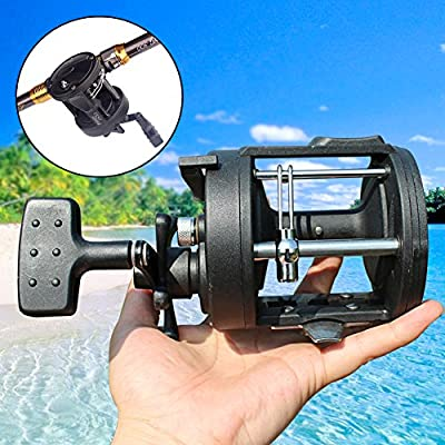 Sougayilang Trolling Fishing Reel Black 3.8:1 Saltwater Freshwater Bait Casting Fishing Tackle Reel
